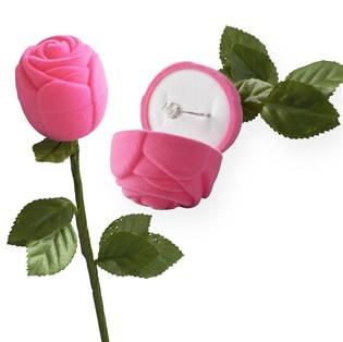 Dárková krabička na prsten - růže na stonku, barva růžová
