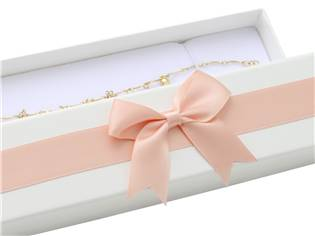 Dárková krabička na náramek, bílá s růžovou mašlí