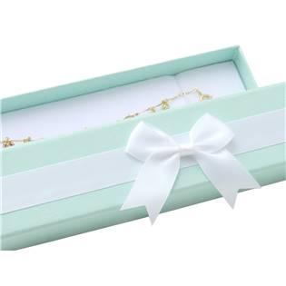 Dárková krabička na náramek, modrá s bílou mašlí