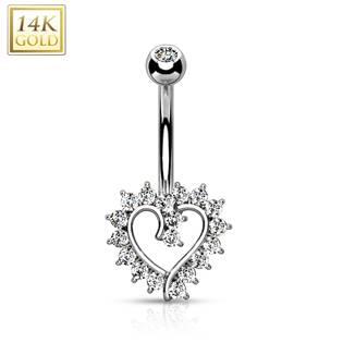 Zlatý piercing do pupíku - srdce, Au 585/1000