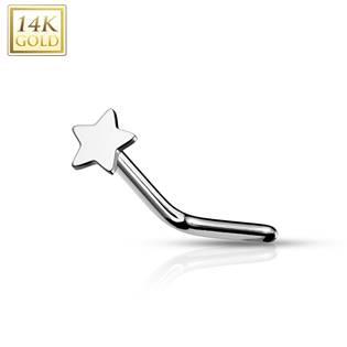 Zahnutý zlatý piercing do nosu - hvězdička, Au 585/1000