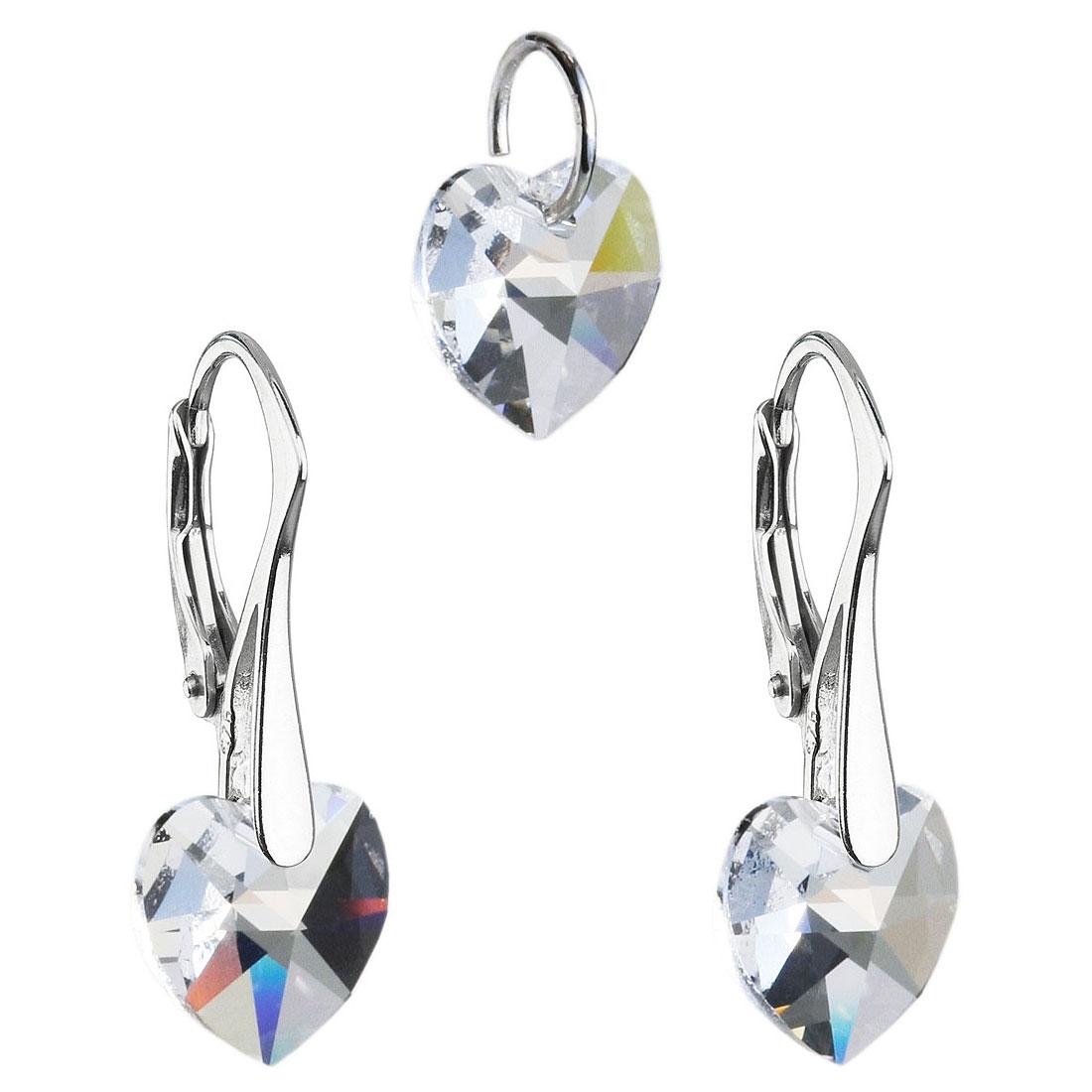 Sada náušnic a přívěšku se srdíčky Crystals from Swarovski® Crystal EG3046-CR