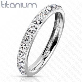 Dámský prsten titan se zirkony