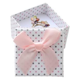 Malá dárková krabička na prsten bílá - šedé a růžové puntíky