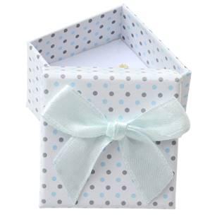 Malá dárková krabička na prsten bílá - šedé a modré puntíky