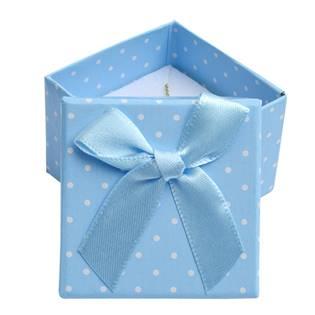 Malá dárková krabička na prsten modrá - bílé puntíky