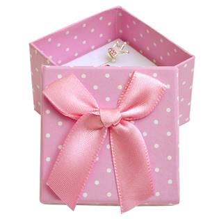 Malá dárková krabička na prsten růžová - bílé puntíky