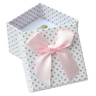 Dárková krabička na prsten bílá - šedé a růžové puntíky