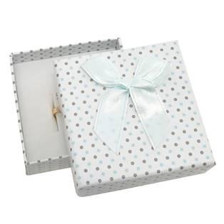 Krabička na soupravu šperků bílá, šedé a modré puntíky