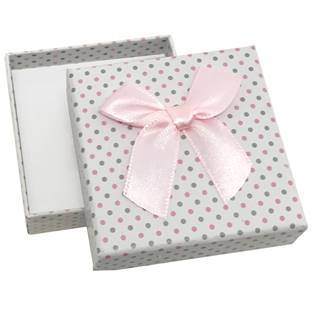 Krabička na soupravu šperků bílá, šedé a růžové puntíky