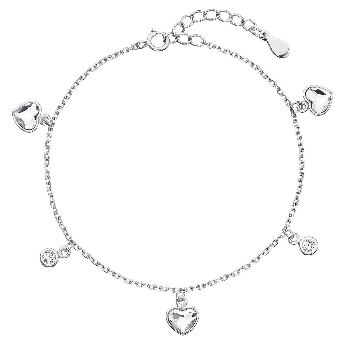 Stříbrný náramek se srdíčky a kamínky Crystals from Swarovski® EG7053