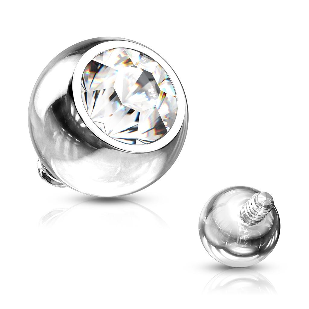 Ozdobný kulička s kamínem k mikrodermálu, průměr 2 mm, čirá barva