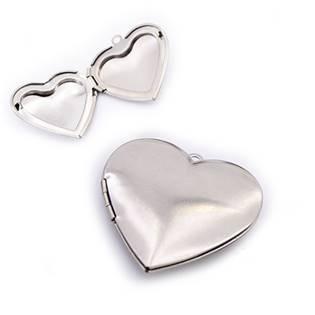 Ocelový přívěšek - srdce medailon otevírací