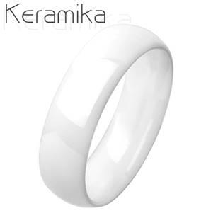KM1013-6 Pánský keramický prsten bílý, šíře 6 mm
