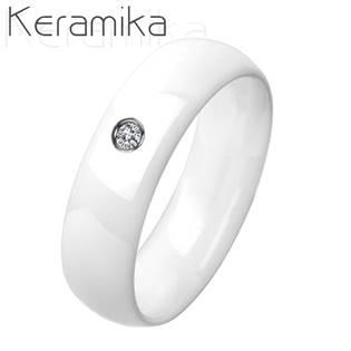 KM1013-6ZR Dámský keramický prsten bílý, šíře 6 mm