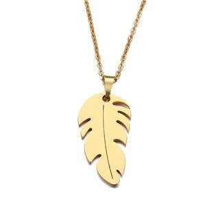 Ocelový náhrdelník lísteček zlacený