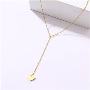 Zlacený ocelový náhrdelník se zavěšeným srdíčkem