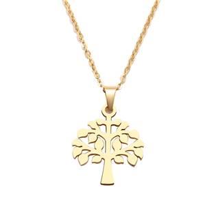 Zlacený ocelový náhrdelník strom života