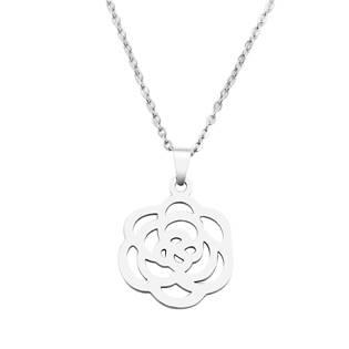 Ocelový náhrdelník s růžičkou