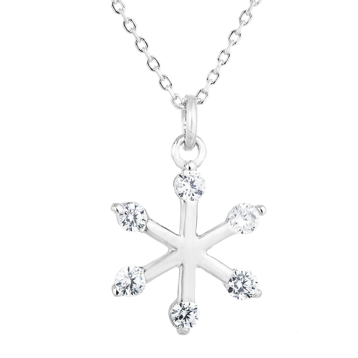 Stříbrný náhrdelník sněhová vločka EG4248