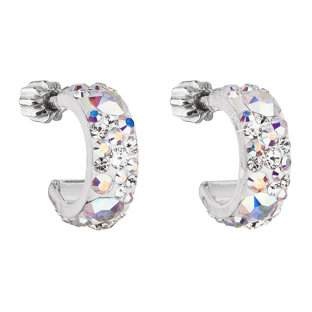 Stříbrné náušnice kruhy s krystaly Crystals from Swarovski® AB EG2031-AB