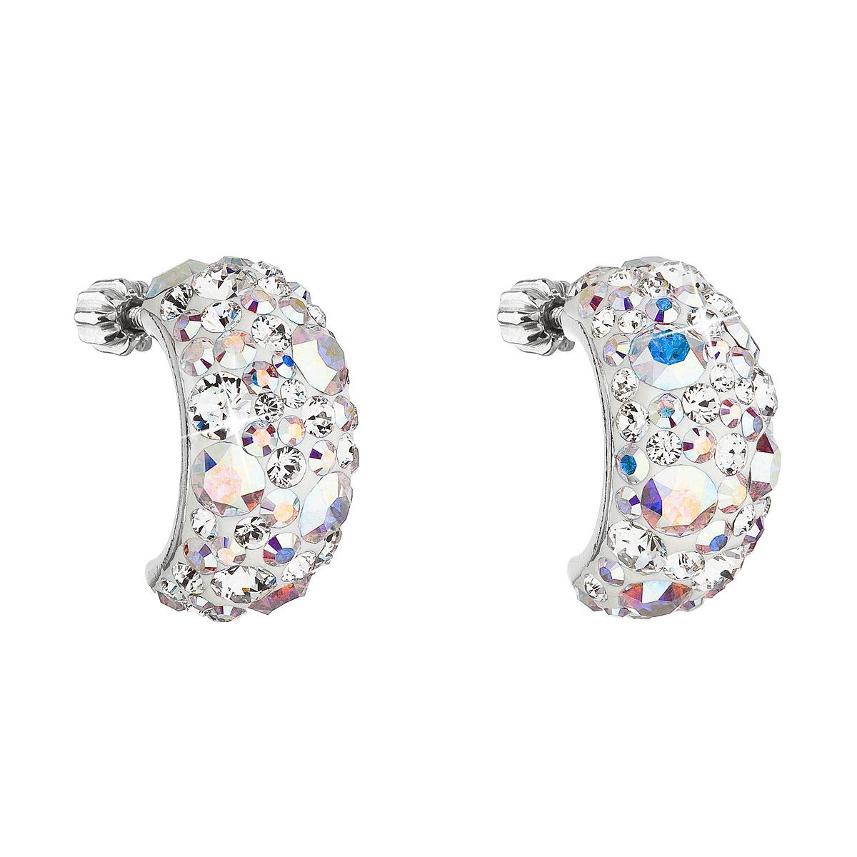 Stříbrné šroubovací náušnice s krystaly Crystals from Swarovski® AB EG2002-AB