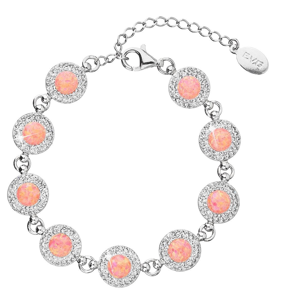 Stříbrný náramek s krystaly Crystals from Swarovski® a oranžovými opály EG7232-OR
