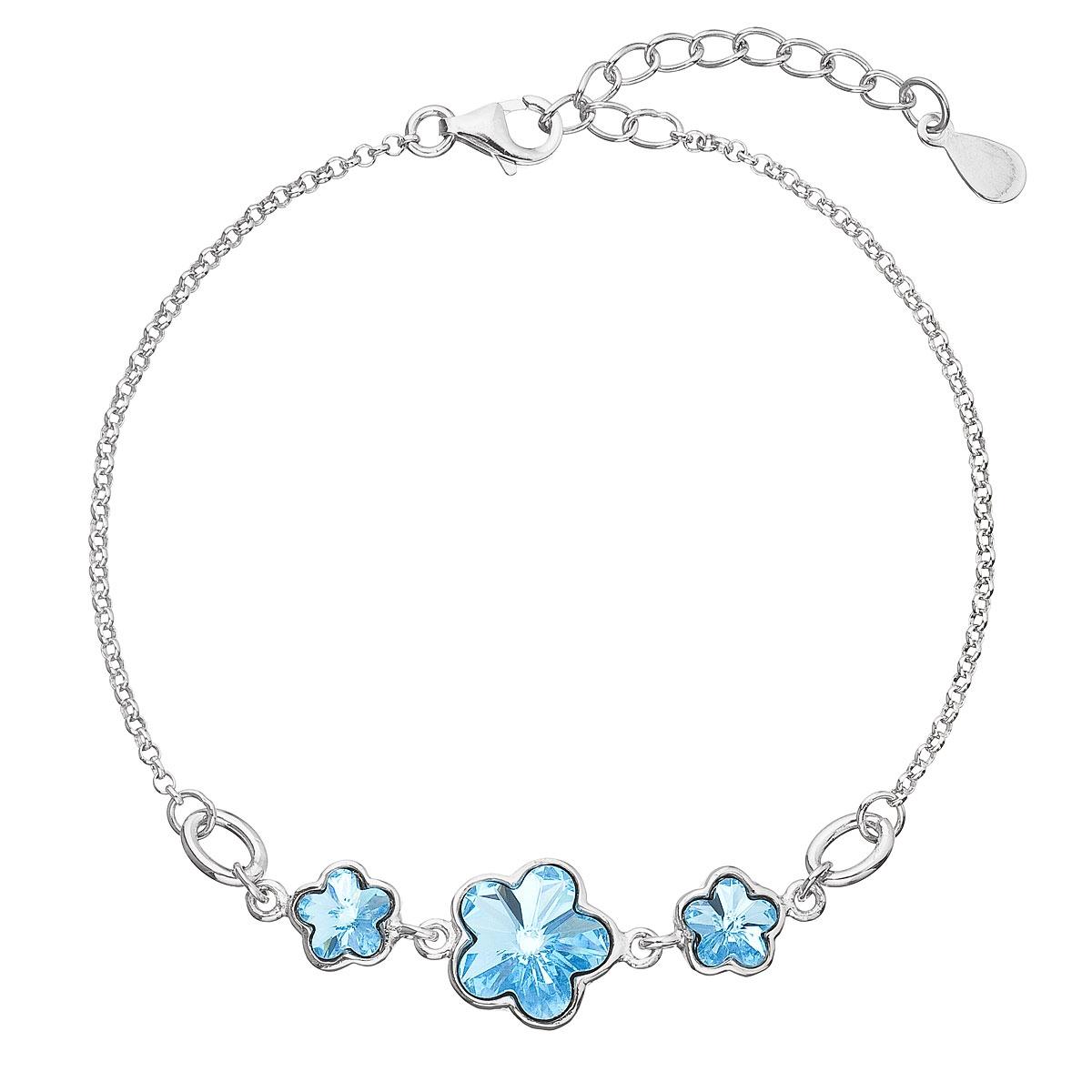 Stříbrný náramek s kytičkami Crystals from Swarovski® Aqua EG7050-AQ