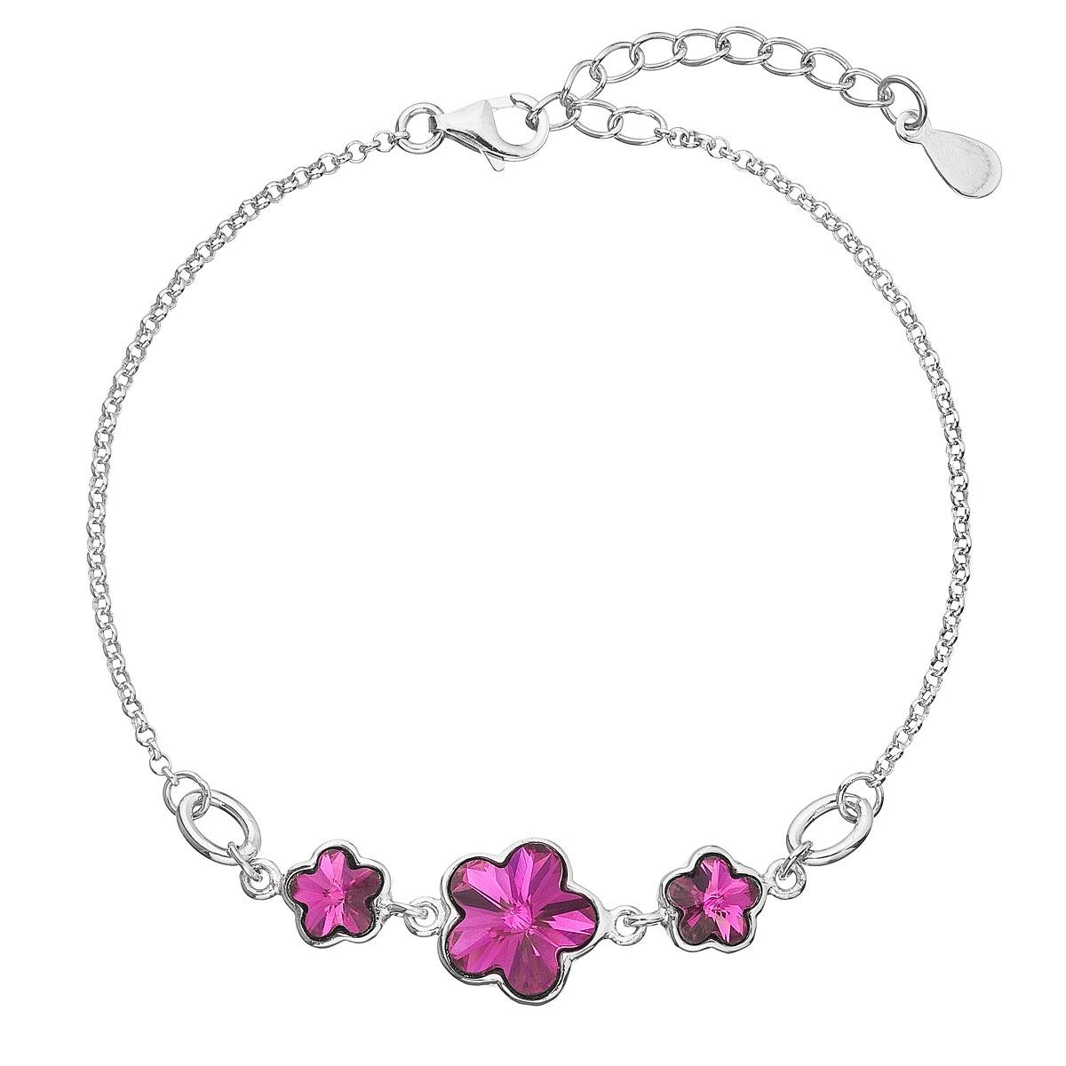 Stříbrný náramek s kytičkami Crystals from Swarovski® Fuchsia EG7050-FU
