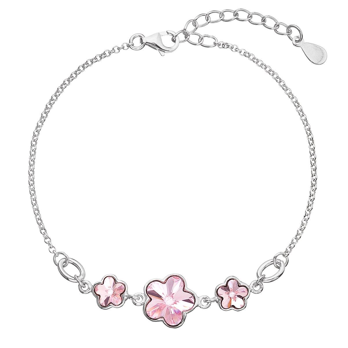 Stříbrný náramek s kytičkami Crystals from Swarovski® Rose EG7050-RO