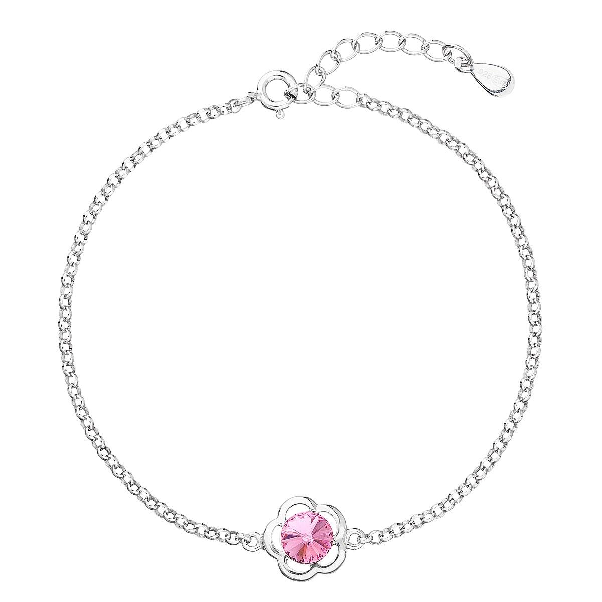Stříbrný náramek s tyrkysovým kamenem Crystals from Swarovski® Rose EG7057-RO
