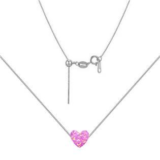 NBS03-OP22 Stříbrný náhrdelník srdce opál