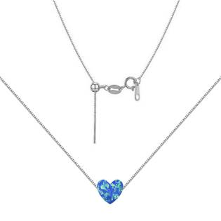 NBS03-OP05 Stříbrný náhrdelník srdce opál