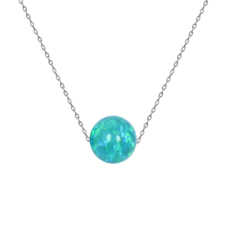 Ocelový náhrdelník s opálem - kulička 6 mm NBP61-OP62