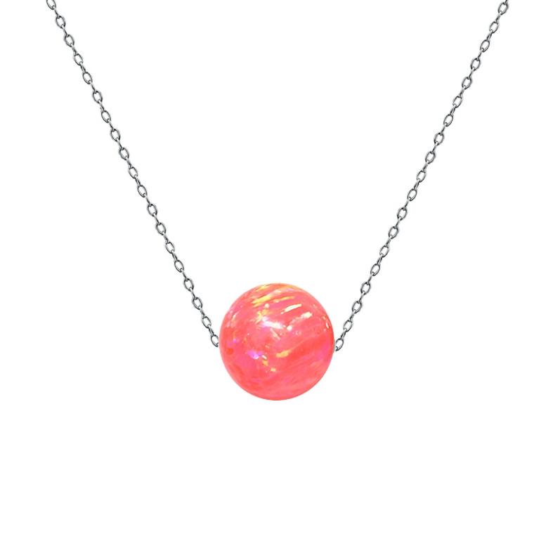 Ocelový náhrdelník s opálem - kulička 6 mm NBP61-OP57