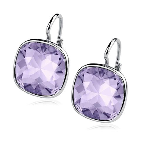 Stříbrné náušnice s kameny Crystals from Swarovski®, barva: VIOLET CS5641-VI