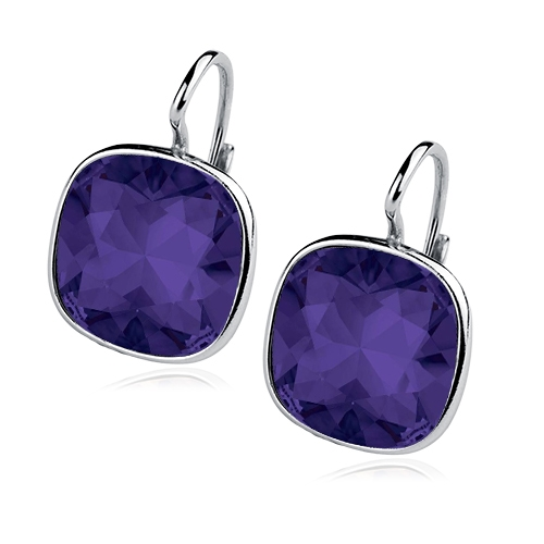 Stříbrné náušnice s kameny Crystals from Swarovski®, barva: TANZANITE CS5641-TZ