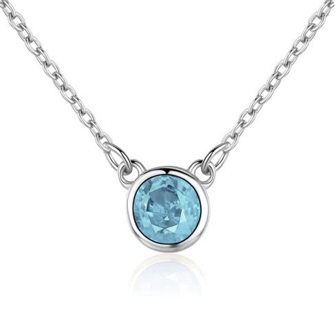 Stříbrný náhrdelník s kulatým tyrkysovým kamenem NB-2087-Q