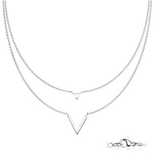 OPD0221-ST Dvojitý ocelový náhrdelník s přívěšky