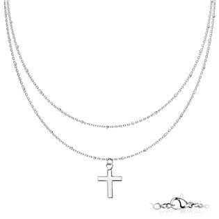 OPD0220-ST Dvojitý ocelový náhrdelník s křížkem