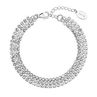 Stříbrný náramek s čirými krystaly Crystals from Swarovski®
