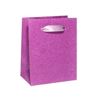 Malá dárková taška stříbřitě růžová