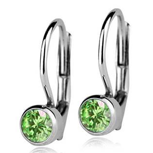 Stříbrné náušnice se světle zelenými kamínky 4 mm