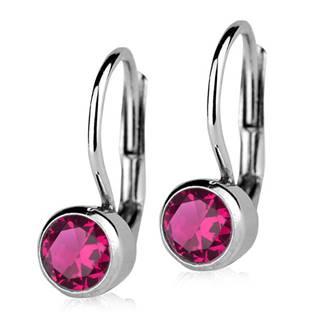 Stříbrné náušnice s tmavě růžovými kameny 5 mm