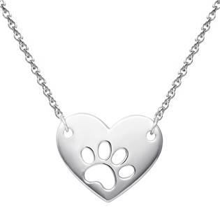 NB-2101 Stříbrný náhrdelník srdce s tlapkou