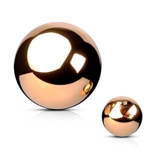 Ocelová náhradní kulička 1,2 x  3 mm, barva růžové zlato