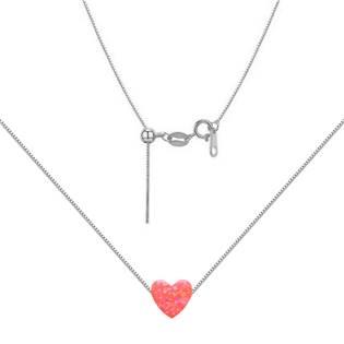 NBS03-OP57 Stříbrný náhrdelník srdce opál