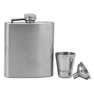 Ocelová kapesní lahev - placatka 185ml + 2 kalíšky 30 ml a trychtýřek