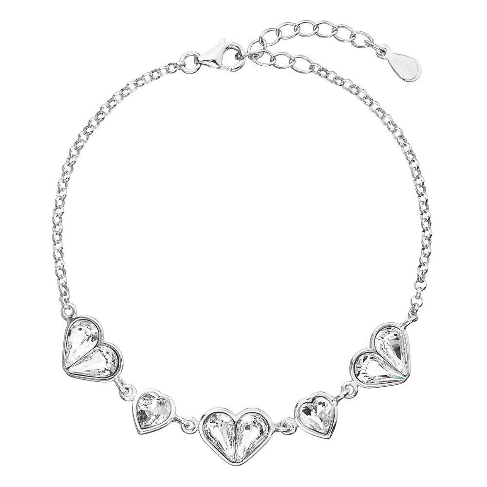 Stříbrný náramek se srdíčky Crystals from Swarovski® EG7051