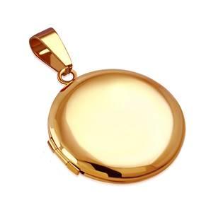 Zlacený ocelový přívěšek - medailon otevírací kruh